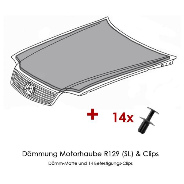 R129 Dämmung Motorhaube SL inkl. Clips