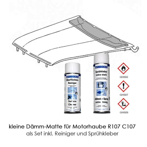 R107 C107 Dämmung Motorhaube kleine Matte Set mit Kleber + Cleaner