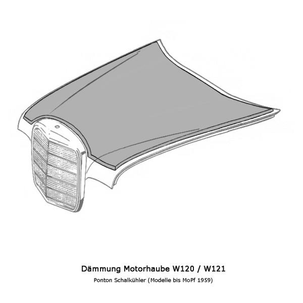 W120 W121 Schmalkühler Dämmung Motorhaube Ponton
