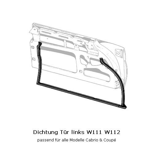 Türdichtung links W111 W112 Cabrio Coupé