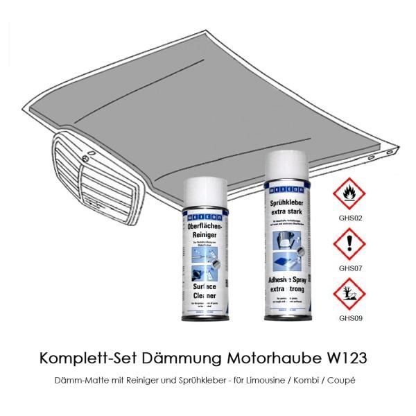 W123 Komplett-Set Dämmung Motorhaube